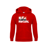 Youth Red Fleece Hood-Riders on Stacked BMX Canada