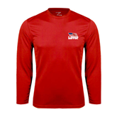 Syntrel Performance Red Longsleeve Shirt-Flag on Stacked USA BMX