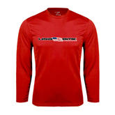 Syntrel Performance Red Longsleeve Shirt-USA BMX w/Flag In Between