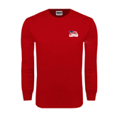 Red Long Sleeve T Shirt-Flag on Stacked USA BMX