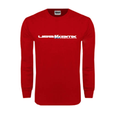 Red Long Sleeve T Shirt-USA BMX w/Riders Between