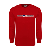 Red Long Sleeve T Shirt-USA BMX w/Flag In Between