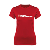 Ladies Syntrel Performance Red Tee-Stacked BMX Canada w/Leaf
