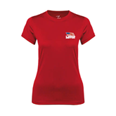 Ladies Syntrel Performance Red Tee-Flag on Stacked USA BMX