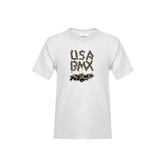 Youth White T Shirt-Brown USA BMX Chain Letters