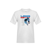 Youth White T Shirt-USA BMX w/2 Riders