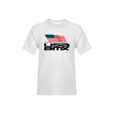Youth White T Shirt-Flag on Stacked USA BMX