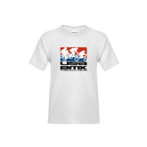 Youth White T Shirt-Riders on Stacked USA BMX