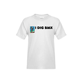Youth White T Shirt-I Dig BMX