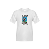 Youth White T Shirt-BMX Racer