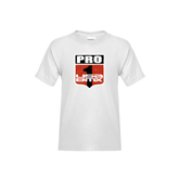 Youth White T Shirt-PRO 1 USA BMX Shield Distressed