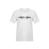 Youth White T Shirt-USA BMX w/Flag and Swirls