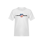Youth White T Shirt-USA BMX w/Flag Shield