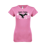 Next Level Ladies SoftStyle Junior Fitted Pink Tee-BMX Babe w/Eagle
