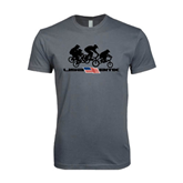 Next Level SoftStyle Charcoal T Shirt-Flag Logo with Riders