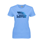 Ladies Sky Blue T Shirt-Flag on Stacked USA BMX