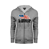 ENZA Ladies Grey Fleece Full Zip Hoodie-Flag on Stacked USA BMX