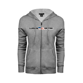 ENZA Ladies Grey Fleece Full Zip Hoodie-USA BMX w/Flag In Between