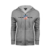 ENZA Ladies Grey Fleece Full Zip Hoodie-USA BMX w/Flag Shield