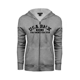 ENZA Ladies Grey Fleece Full Zip Hoodie-Arched USA BMX 2014 Training Center