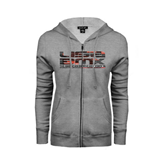 ENZA Ladies Grey Fleece Full Zip Hoodie-USA BMX Red/Black Pattern
