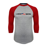 Grey/Red Raglan Baseball T-Shirt-USA BMX w/Flag In Between