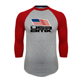 Grey/Red Raglan Baseball T-Shirt-Flag on Stacked USA BMX