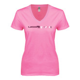 Next Level Ladies Junior Fit Deep V Pink Tee-USA BMX w/Flag In Between