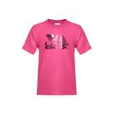 Youth Fuchsia T-Shirt-Flag on Stacked USA BMX