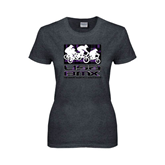 Ladies Dark Heather T Shirt-Riders on Stacked USA BMX Purple/Black Pattern