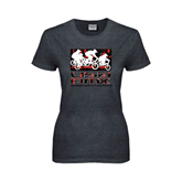 Ladies Dark Heather T Shirt-Riders on Stacked USA BMX Red/Black Pattern
