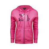 ENZA Ladies Fuchsia Fleece Full Zip Hoodie-Flag on Stacked USA BMX