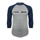 Grey/Navy Raglan Baseball T Shirt-USA BMX w/Riders Between