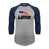 Grey/Navy Raglan Baseball T Shirt-Flag on Stacked USA BMX