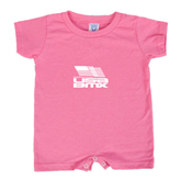 Bubble Gum Pink Infant Romper-Flag on Stacked USA BMX