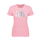Ladies Pink T Shirt-Flag on Stacked USA BMX