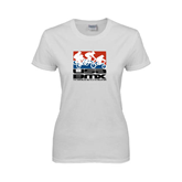 Ladies White T Shirt-Riders on Stacked USA BMX