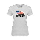 Ladies White T Shirt-Flag on Stacked USA BMX