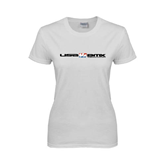 Ladies White T Shirt-USA BMX w/Riders Between