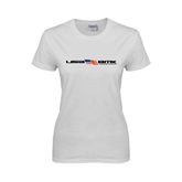 Ladies White T Shirt-USA BMX w/Flag In Between