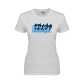 Ladies White T Shirt-White USA BMX 5 Riders