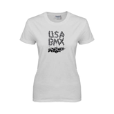 Ladies White T Shirt-White USA BMX Chain Letters