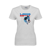Ladies White T Shirt-USA BMX w/2 Riders