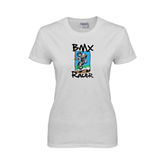 Ladies White T Shirt-BMX Racer