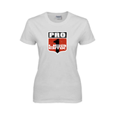 Ladies White T Shirt-PRO 1 USA BMX Shield Distressed