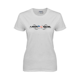 Ladies White T Shirt-USA BMX w/Flag and Swirls