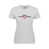 Ladies White T Shirt-USA BMX w/Flag Shield
