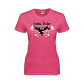 Ladies Fuchsia T Shirt-BMX Babe w/Eagle