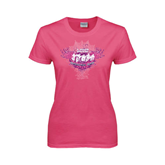 Ladies Fuchsia T Shirt-Motocross Mom