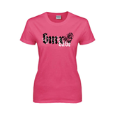Ladies Fuchsia T Shirt-BMX Babe